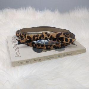 Leopard Cheetah Pony Hair Bow Belt Medium